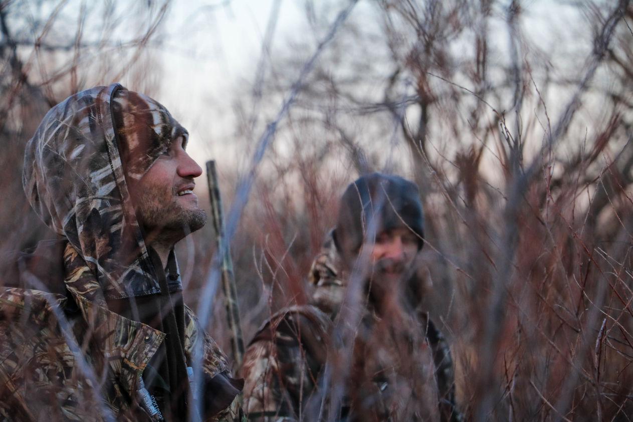 Hunters in woods